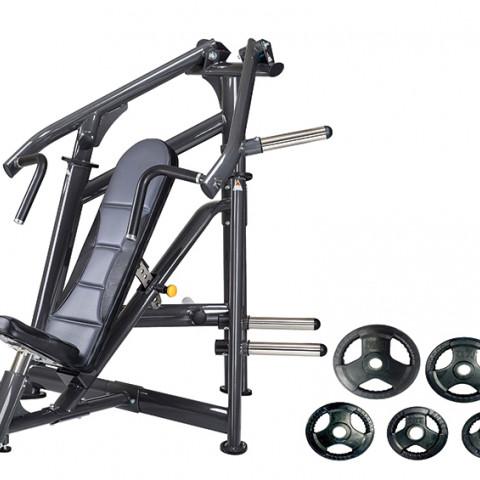 อุปกรณ์ฝึกความแข็งแรงกล้ามเนื้อหน้าอก (Chest Press) พร้อมแผ่นน้ำหนักหุ้มยาง  120 กิโลกรัม