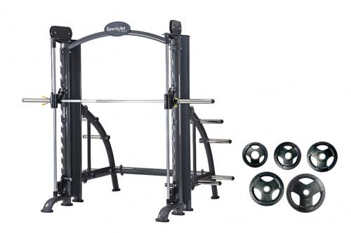 อุปกรณ์ช่วยฝึกยกน้ำหนัก ( Smith Machine ) พร้อมแผ่นน้ำหนักหุ้มยาง  180 กิโลกรัม