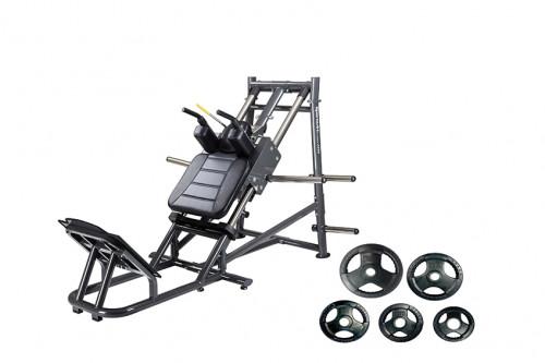 อุปกรณ์ฝึกช่วงล่าง ( Hack Squat ) พร้อมแผ่นน้ำหนักหุ้มยาง  150 กิโลกรัม
